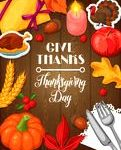 Happy thanksgiving day credit card. holiday vector background. stock vector – image: 79563806