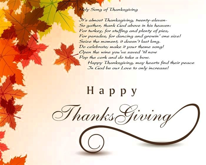 Happy Thanksgiving Poems & Prayer