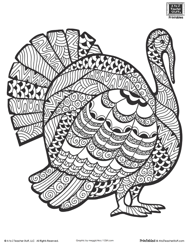 Advanced Coloring Page for Older Students or Adults: Thanksgiving Turkey