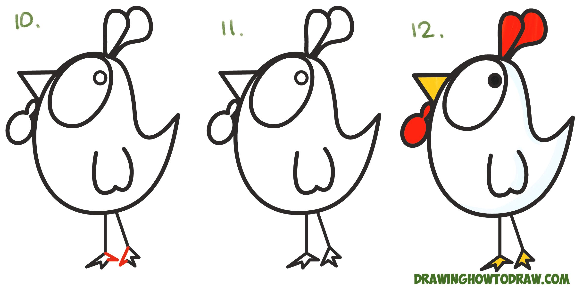 How you can draw a poultry, thanksgiving day, easy step-by-step drawing tutorial Ocean and
