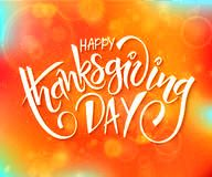 Vector thanksgiving day greeting lettering phrase - happy thanksgiving day - on blur autumn background with flares Royalty Free Stock Photo
