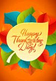 Happy Thanksgiving Calligraphy Greeting Card template on wood background. Vector happy thanksgiving card with autumn Stock Image