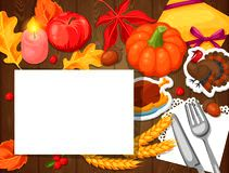 Thanksgiving Day greeting card. Background with autumn and holiday objects Stock Photos