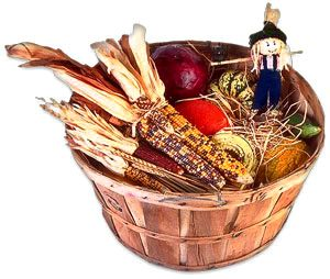 basket of fall fruit and vegetables including harvest corn