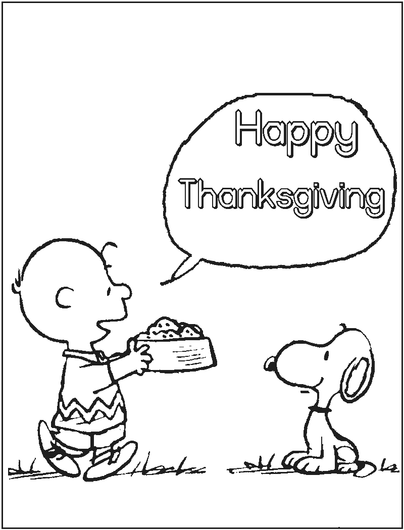 Snoopy and Charlie Brown Thanksgiving Coloring Pages