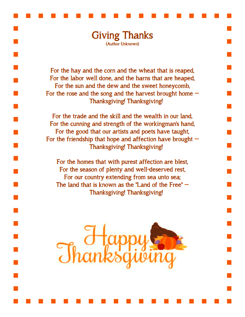 Thanksgiving poems for teachers to be brought      by