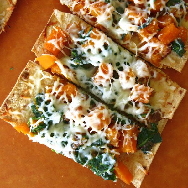 Ideas for Turkey Leftovers: Add turkey to this Flat Bread Pizza with Butternut Squash, Caramelized Onions and Spinach