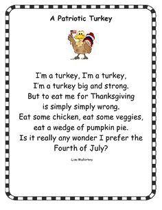 Short poultry songs - poultry poems for recitation - kid thanksgiving dinner and runs because