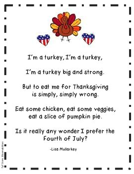 Short poultry songs - poultry poems for recitation - kid thanksgiving You may either