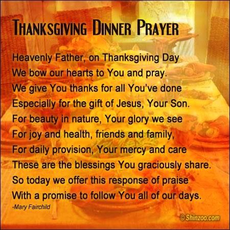 Thanksgiving dinner prayer Give thanks in most
