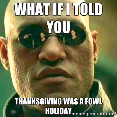 What if I told you Thanksgiving was a fowl holiday humor meme photo