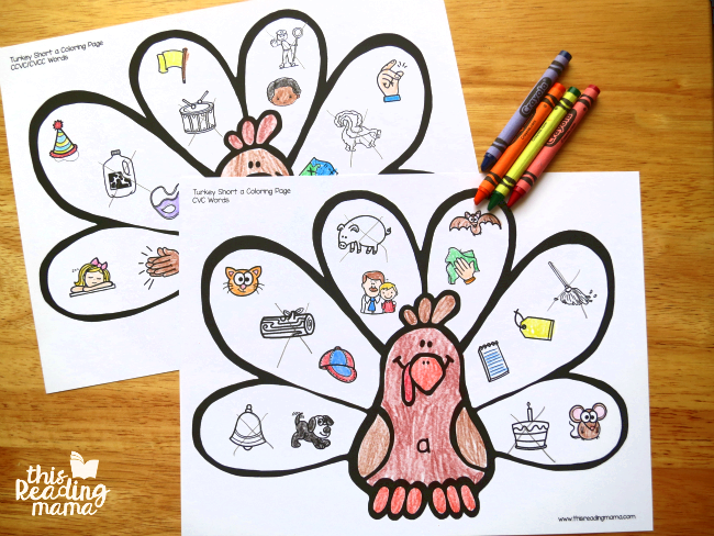 2 short vowel coloring pages for each vowel sound