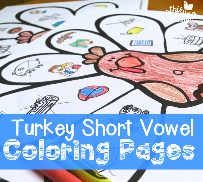Free Short Vowel Coloring Pages - great for Thanksgiving